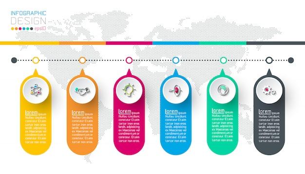 Infografica di affari con 6 passaggi. Vettore Premium