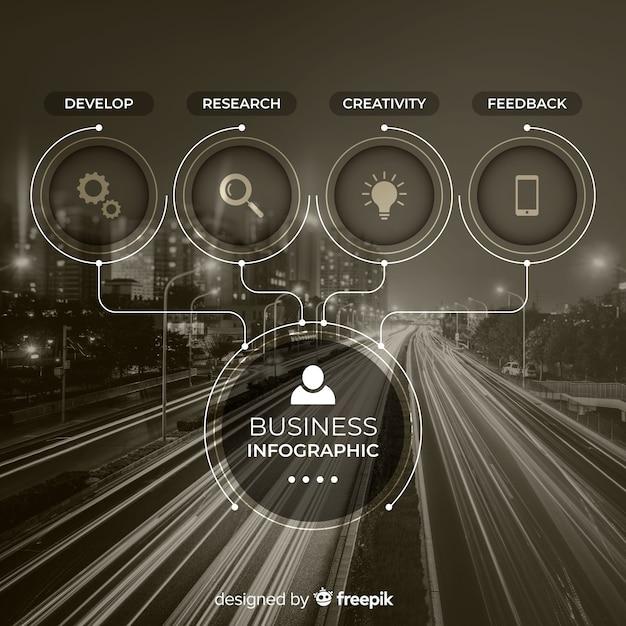 Infografica di affari con foto Vettore gratuito