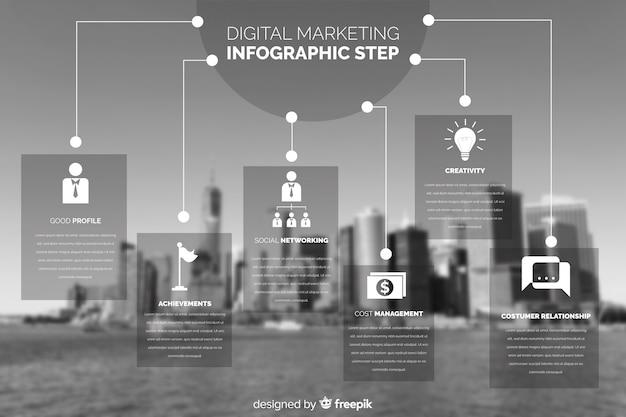 Infografica di affari piatta con foto Vettore gratuito