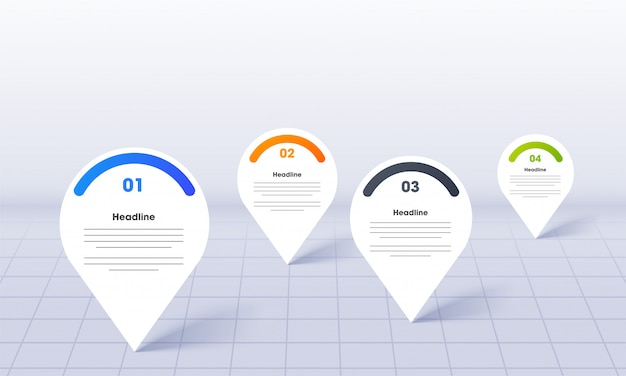 Infografica di business per powerpoint con modello di pin di posizione mappa Vettore Premium