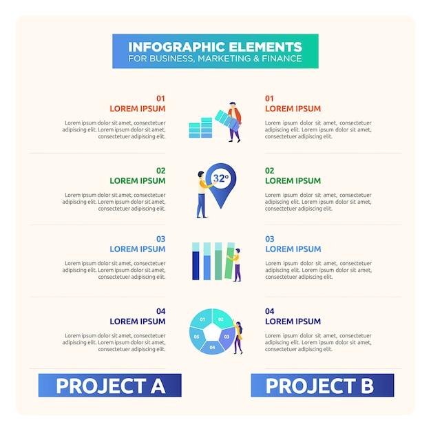 Infografica di confronto con figura illustrazione Vettore Premium