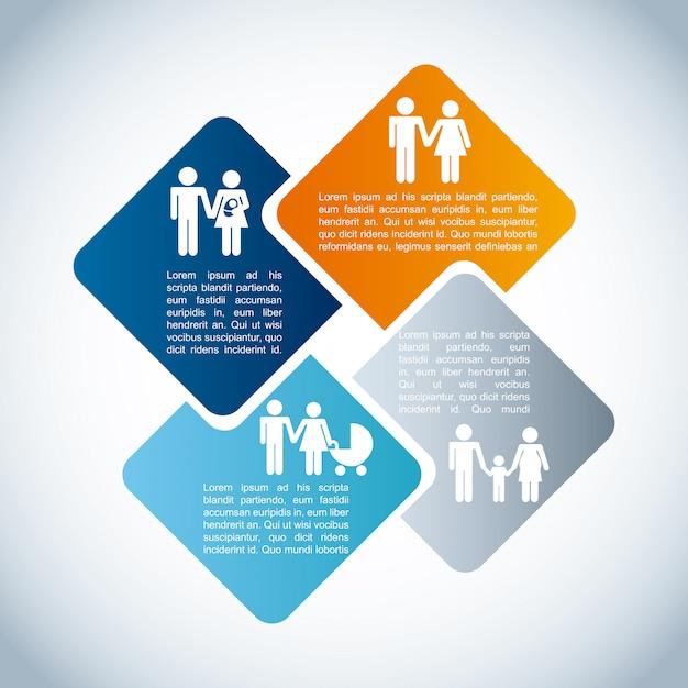 Infografica di famiglia Vettore Premium