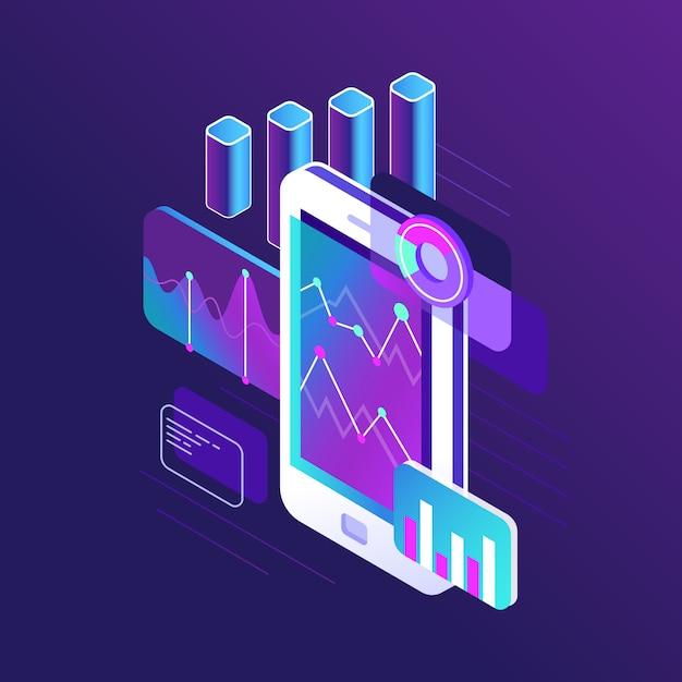 Infografica di ricerca di dati, grafico di tendenze e analitica di prospettive di grafici di strategia aziendale sullo sviluppo del diagramma di flusso dello schermo dello smartphone Vettore Premium