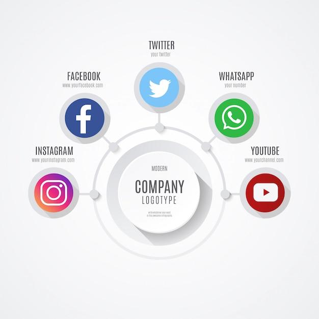 Infografica di social media business Vettore gratuito
