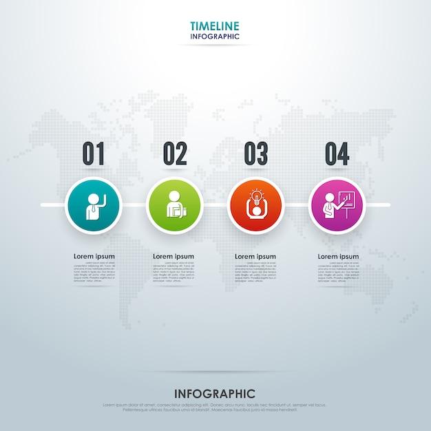 Infografica di timeline con quattro passaggi Vettore Premium