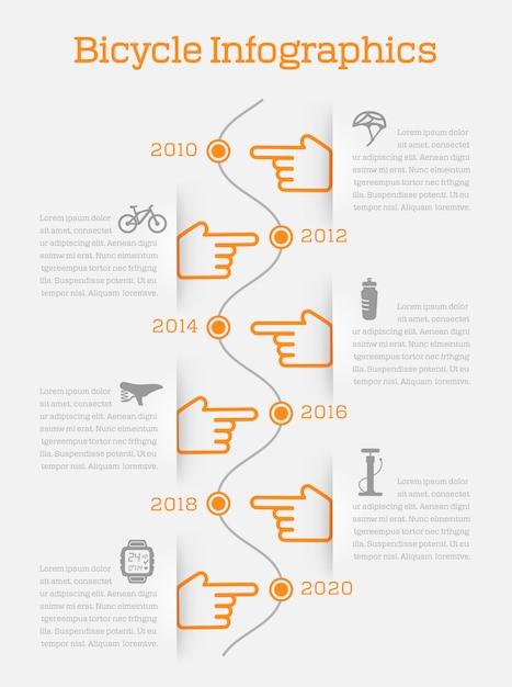 Infografica di timeline infografica con icone di elementi e accessori di bici Vettore Premium
