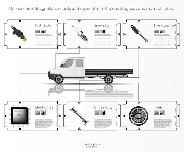Infografica di trasporto merci e trasporto. modello di infografica automobilistica. interfaccia utente virtuale astratta di tocco grafico. diagnostica auto. applicazioni di riparazione di auto mobili modello. Vettore Premium