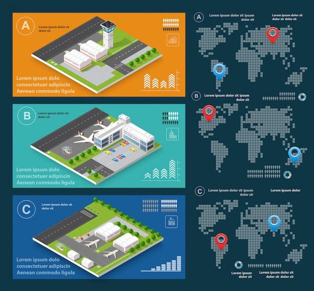 Infografica di voli di trasporto Vettore Premium