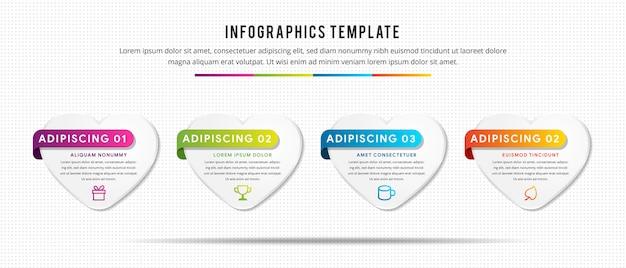 Infografica digitale con quattro passaggi Vettore Premium