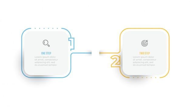 Infografica elementi di design semplice numero con etichetta linea sottile. concetto di business con 2 opzioni o passaggi. Vettore Premium