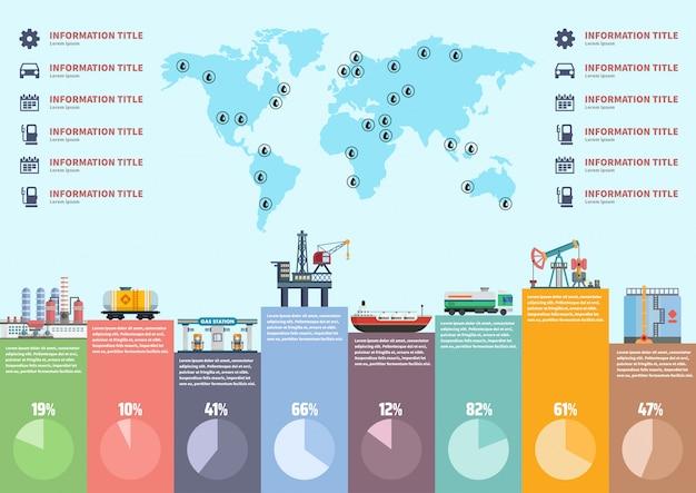 Infografica industria petrolifera. Vettore Premium