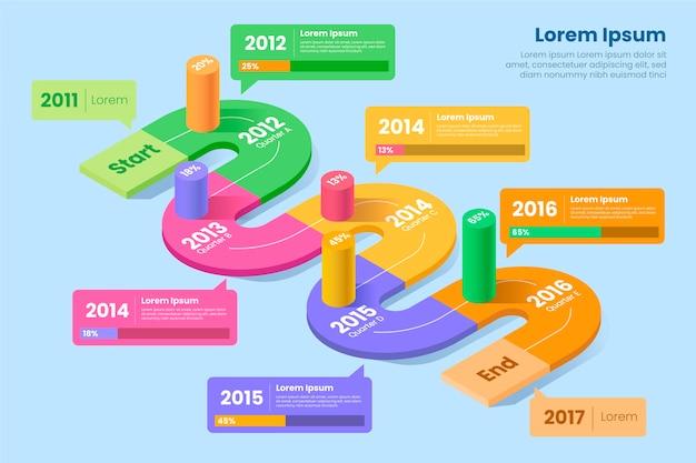 Infografica isometrica colorata con dettagli Vettore gratuito
