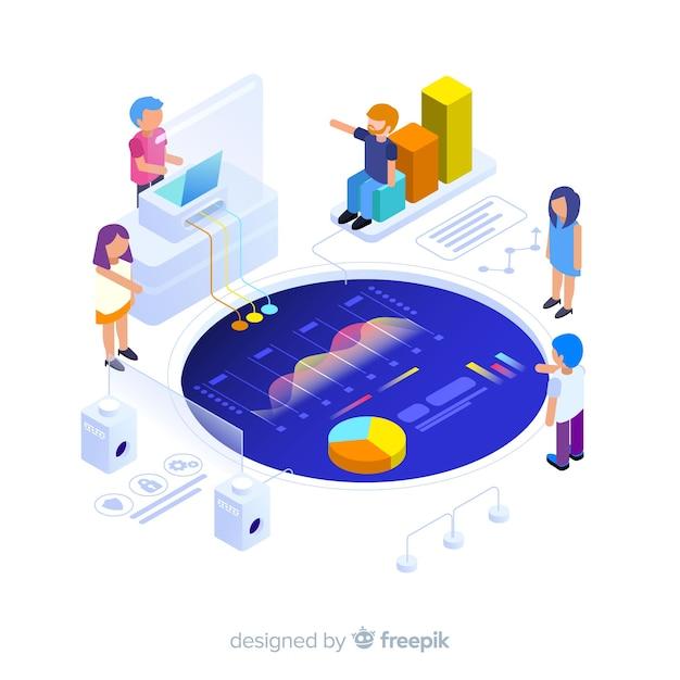Infografica isometrica con grafici e persone Vettore gratuito