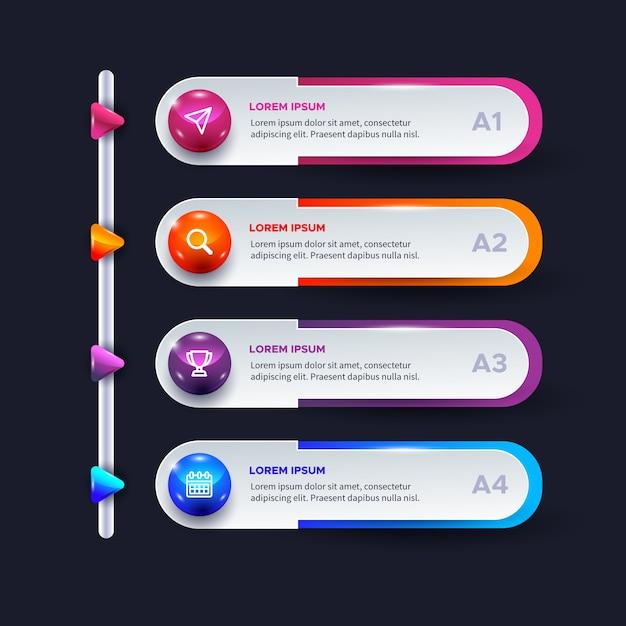 Infografica lucida tridimensionale Vettore gratuito