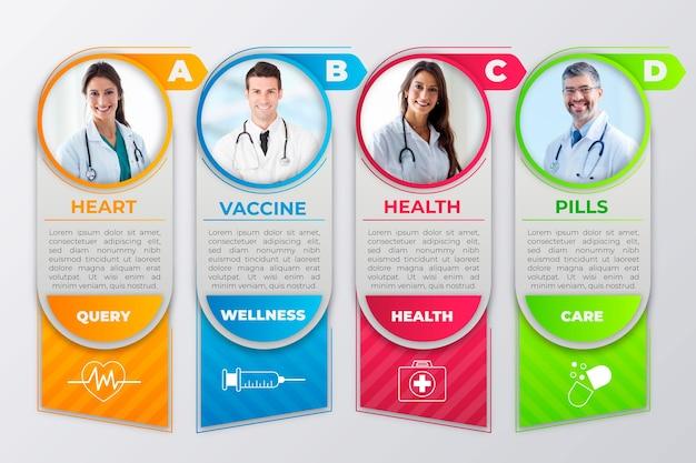 Infografica medica con foto Vettore gratuito