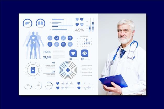 Infografica medica con medico professionista Vettore gratuito