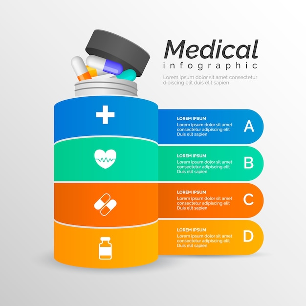 Infografica medica con pillole Vettore gratuito