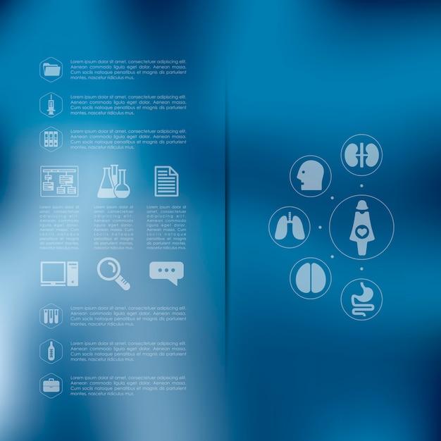 Infografica medica con sfondo sfocato Vettore Premium