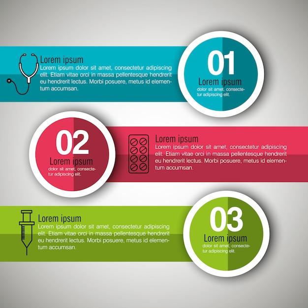 Infografica medica con tre passaggi Vettore gratuito
