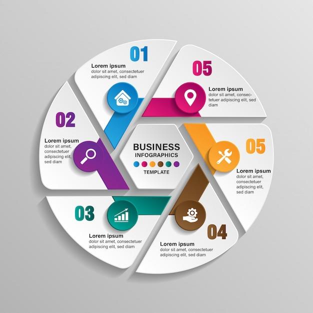 Infografica modello 6 opzioni con cerchio. visualizzazione di dati e informazioni. Vettore Premium