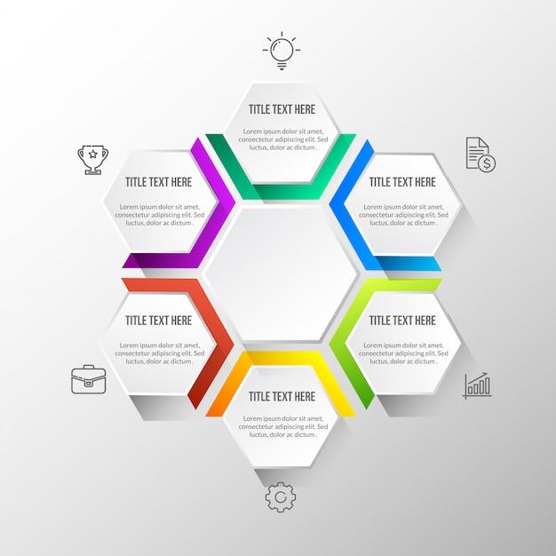 Infografica moderna a colori con tavolo 3d Vettore Premium