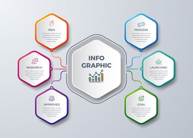 Infografica moderna con forma esagonale. Vettore Premium