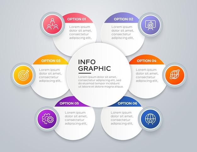 Infografica moderna in 6 passaggi Vettore Premium