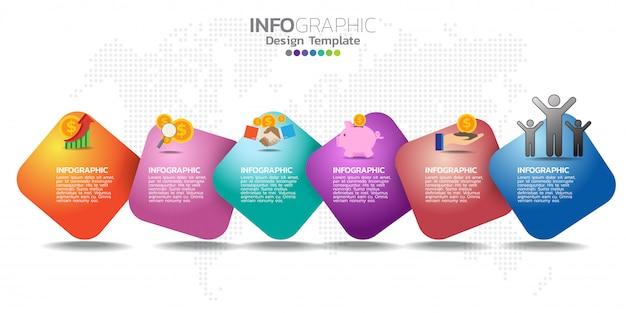 Infografica per icone di affari e 6 opzioni o passaggi. Vettore Premium