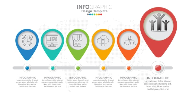 Infografica per il concetto di business con icone e opzioni o passaggi. Vettore Premium
