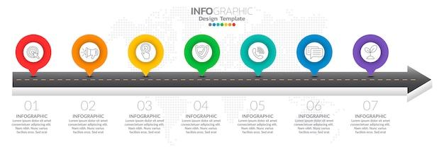 Infografica per il concetto di business con icone e opzioni Vettore Premium
