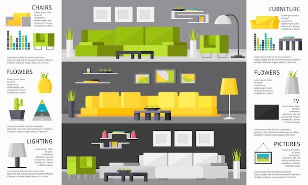 Infografica sala interna Vettore gratuito