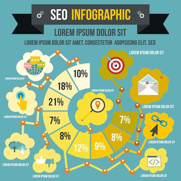 Infografica seo in stile piatto per qualsiasi design Vettore Premium