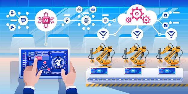 Infografica smart industry 4.0. Vettore Premium