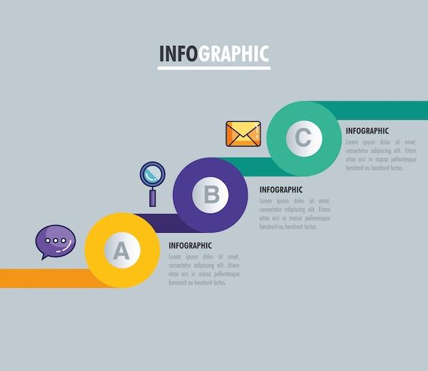 Infografica statistica con lettere e icone di affari Vettore Premium