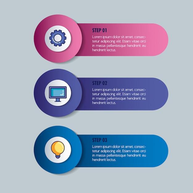 Infografica statistica con set di icone Vettore Premium