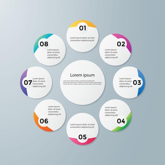 Infografica timeline design vettoriale e icone di marketing Vettore Premium
