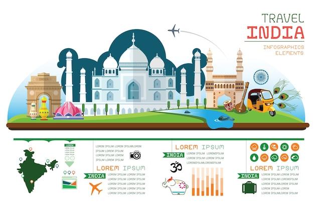 Infografica vettoriale viaggio india. Vettore Premium