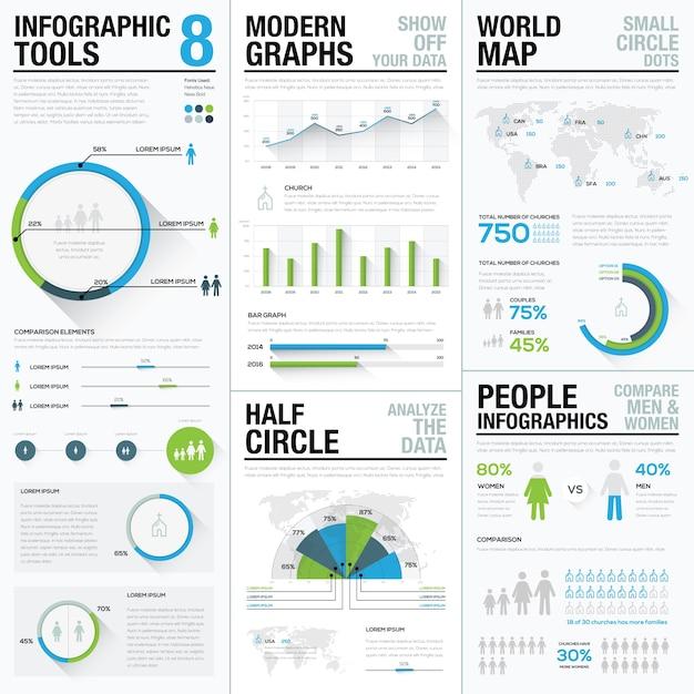 Infografici di mappa mondiale e elementi vettoriali di visualizzazione aziendale Vettore Premium