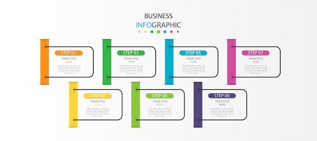 Infograhic aziendale con 7 passaggi o opzioni Vettore Premium
