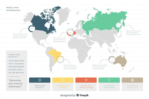 Infograhic di affari con la mappa del mondo Vettore gratuito
