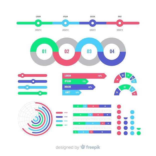 Infographic elemento collectio Vettore gratuito