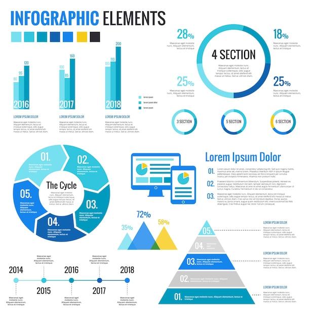Infographic Elements Set Vettore gratuito