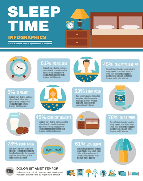 Infographic sleep time Vettore gratuito