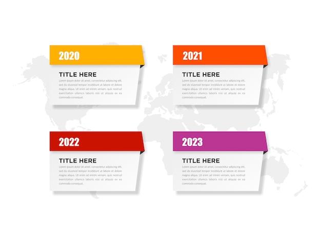 Infographic template business marketing con anni Vettore Premium