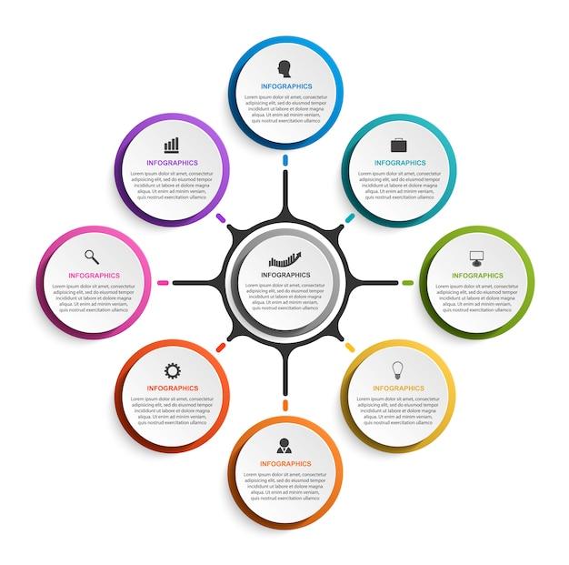 Infographics astratto di opzioni di affari con otto opzioni Vettore Premium