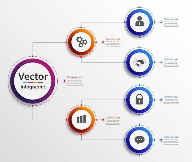 Infographics del diagramma di organogramma di gerarchia di affari Vettore Premium