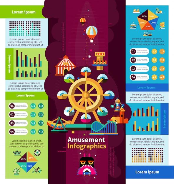 Infographics del parco di divertimenti Vettore gratuito