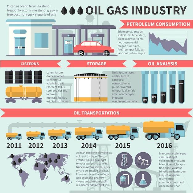 Infographics dell'industria petrolifera del gas Vettore gratuito