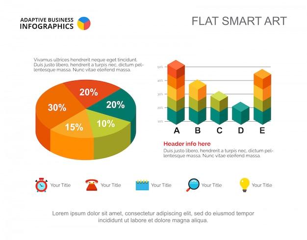 Infographics di affari con il diagramma a torta e l'istogramma. modello di diapositiva di presentazione modificabile Vettore gratuito