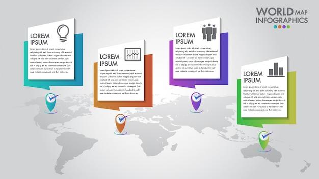 Infographics di affari di mappa mondo Vettore Premium